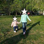 子供と公園&花びらかっぱえびせん